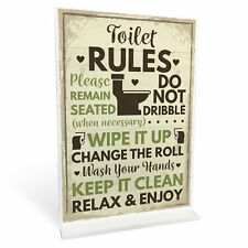 Toilet Sign Shabby Chic Standing Plaque Sign For Toilet Bathroom Loo Home Decor