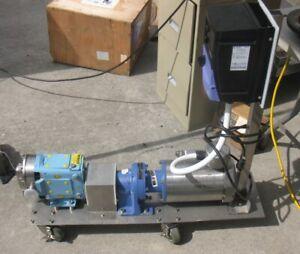 waukesha pump model 6 positive displacement pump, with VFD, motor, gear reducer