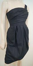 DAVID SZETO Black Navy Blue Silk & Wool One Shoulder Evening Mini Dress SZ36 UK8