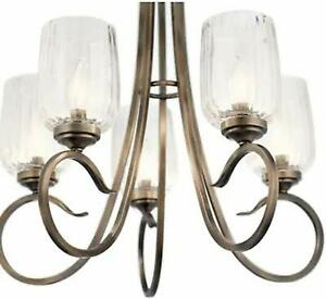 Kichler Chesterlyn 5 Light Vintage Tuscan Traditional Ribbed Shaded Chandelier