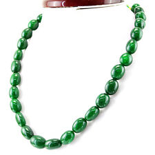 482.00 CTS EARTH MINED RICH GREEN EMERALD OVAL SHAPE BEADS NECKLACE - ON SALE