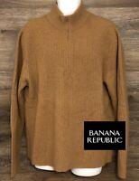 Banana Republic Mens Camel Hair Wool Blend Brown Long Sleeve Pullover Sweater XL