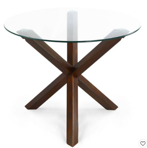 """Poly & Bark 37.4"""" Wilford Round Dining Table, NEW, Mid-century"""