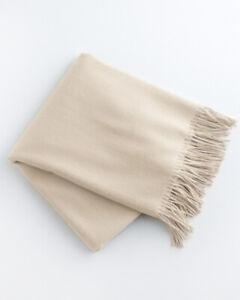 GARNET HILL Wool & Cashmere Throw Antique White NWOT