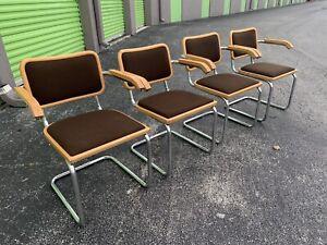 (4) Vintage Breuer Cesca Chrome Dining Arm Chairs