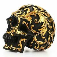 Harz gold schädel statue figur menschliches skelett deko kopf halloween Q4D1