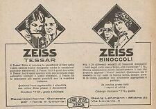 Z0778 Zeiss Tessar - Zeiss Binocoli - Pubblicità del 1925 - Advertising