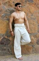 Mens Hemp Thai Fisherman Pants Off-White Plain Yoga Gypsy Hippy Hippie Trouser