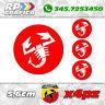 KIT 4 ADESIVI ABARTH COPRI MOZZO sticker FIAT 500 595 695 red & white