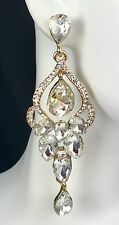 "Fabulous! 3"" Long Clear Crystal & Gold Earring Drag Queen, Prom, Pageant, Bridal"