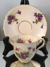 Vtg Tea Cup Saucer Set Stanley Bone China England Demi Violet Purple Demitasse