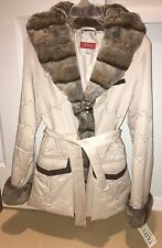 NWT TAIFUN WOMEN'S FAUX FUR TRIMMED BELTED COAT, SMALL