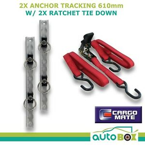 Anchor Tracking 2pce 610mm 680kg with Ratchet Tie Down Trailer Ute Bike Track