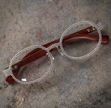 White Gold Mens Iced Vintage Round Diamond Hip Hop Oval Wood Frame Clear Glasses