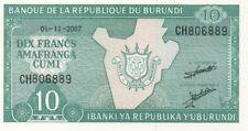 BURUNDI/P33e // Billet de 10 FRANCS-2007