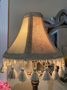 Vintage Victorian French Lamp Shade Only Panel Fringe Tassel Cream Floral