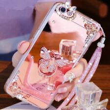 3D Girls' Mirror Bling Diamond Rhinestone Ring Kickstand Phone Soft Case Cover B