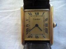 Cartier Tank Watch Vermeil Argent 925 Quartz Running NICE!