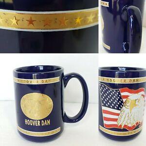 Hoover Dam Souvenir Mug 12 Oz Gold Embossed Eagle USA Flag Patriotic Vintage