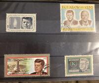 Vintage John F Kennedy Stamps Ecuador Uruguay Sharjah Lit Of 4