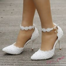 Womens White Lace Pearl Wedding Sandals High Heels Pointy Toe Ankle Strap Shoes