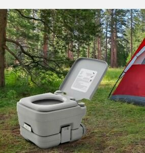 & 10L Portable Travel Toilet Outdoor Camping with 2 Detachable Tanks Grey 3:21