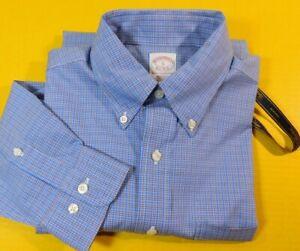 NEW Brooks Brothers Dress Shirt Size Small Glen Check Plaid Blue White  NWT