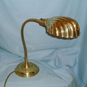 Antique - Brass  Gooseneck Lamp - With Clam Shell Shade - Refurbished & Rewired