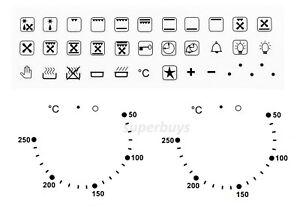 Combo 36pc Symbols & 50-250 Degree Oven Temperature Adhesive Knob Sticker Label