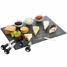 VonShef Cheese Board / Tapas Set & Dipping Set with Slate, Knife Set and Dishes
