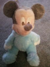"""Disney Park New MICKEY MOUSE Baby Rattle Chime Blue 10"""" Plush Soft Stuffed Toy"""