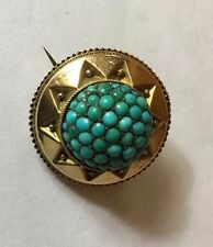 Victorian Turquoise Target Brooch Pin Hair Memorial Glass Back