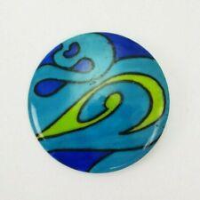 Aichberger Retro Blue Green E/0219 Vintage Round Handpainted Enamel Broche M
