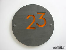 Modern House Numbers,Concrete &Yellow Acrylic- Sign Plaque - Door Number Round