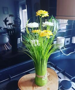 Faux flower display Yellow Mrs Hinch