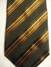 "XMI Platinum Silk Tie Brown Red Tan Striped Design 58"" NWT"