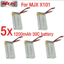 5Pcs 7.4V 1200mAh 30C Rechargeable Lipo Battery For MJX X101 RC Helicopter Drone