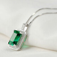 3ct Green Emerald White Sapphire Pendant Chain Necklace 14k White Gold Finish