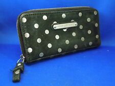 Juicy Couture Suede Clutch Wallet - Black with Silver Polka Dots