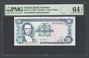 Jamaica 10 Dollars 1-3-1994 P71e Uncirculated Graded 64