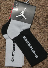 NEW kid NIKE black/grey AIR JORDAN 2-pair HIGH CREW SOCKS bjd4162 SZ 10c-3y
