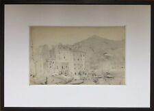 MENTON/Frédéric Anatole HOUBRON 1851-1908.Le port.Crayon.SBD.12x22.Cadre