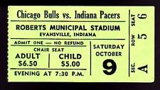 Oct 9 1976 Chicago Bulls vs Indiana Pacers Ticket Stub NBA vs ABA Preseason Game