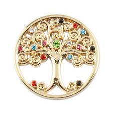 Nuevo árbol de la vida de color rosa dorado moneda de diamantes de imitación 33mm fr03