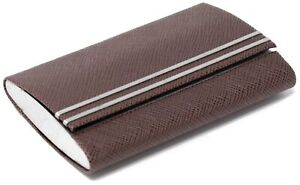 Slim Genuine Saffiano Brown with Metal Stripes Leather Double Sided Business ...