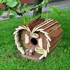 Bird Hotel House Hanging Wooden Nesting Box Station Love Bird Small Home Feeder