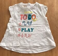 Brand New Zara Baby Girls White Patterned T Shirt Top. Age 12-18 Months