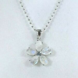 Natural Moonstone & Topaz Solid Sterling Silver ITALY Necklace