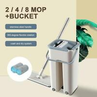 Flat Floor Cleaning Microfiber Mop Hand Free Wringing Flat Squeeze Mop + Bucket
