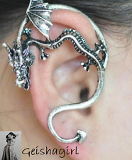 Gothic Vintage Retro Rock Punk Silver Dragon Bite Ear Stud Cuff Wrap Earring